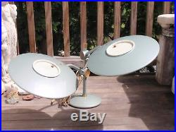 Rare Vintage Dazor Retro MID Century Double Flying Saucer Ufo Table Lamp Light