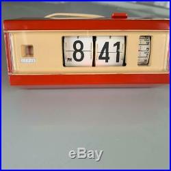 Rare Vintage Red Copal 227 Flip Alarm Clock. MID Century Modern Retro Japan