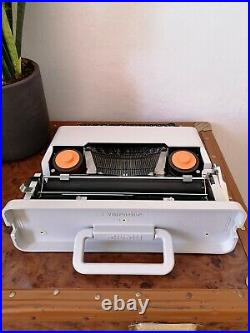 Rare Working WHITE Olivetti Valentine Typewriter & Case Ettore Sottsass Design