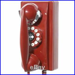 Red Vintage Phone 1950 Retro Wall Mount Classic Mid Century Corded Telephone New