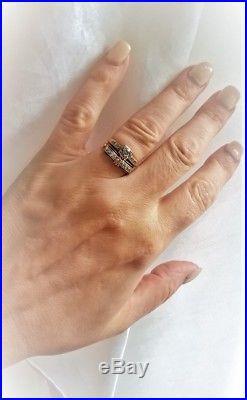 Retro 1950s Diamond 14K 18K Wedding Bridal 2 Ring SET MCM Mid Century Vintage