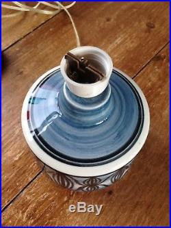Retro 60's 70's Blue Jersey Pottery Scandinavian Style Lamp Base MID Century Vtg