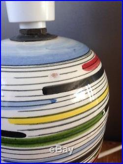 Retro 70's Multicoloured Striped Italian Pottery Lamp Base MID Century Vintage