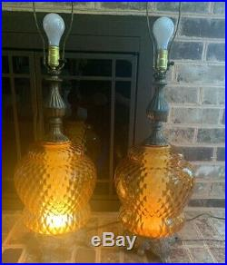 Retro 70's, Vintage Mid-Century Modern Hollywood Regency Amber Glass Table Lamps