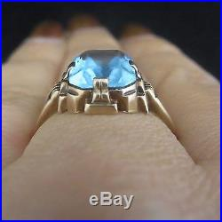 Retro Blue Gemstone 10k Rose Gold Ring Estate Vintage Mid Century c. 1940s