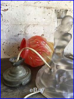 Retro Flame Lamp Mid Century Vintage Glass Lamp Nude Lady Holding Torch