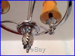 Retro French Chrome Chandelier Vintage Ceiling Light MID Century