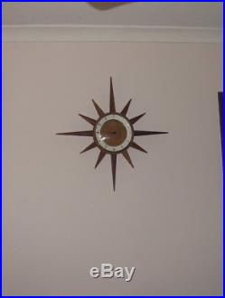 Retro Mid Century Junghans Timber Starburst Sunburst Vintage Wall Clock In VGWO