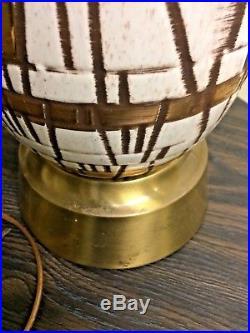 Retro Mid Century Modern Geometric Ceramic Table Lamp Vintage Massive