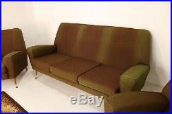 Retro Mid Century Sofa 2 Armchairs 1960s Atomic Style Three Piece Suite Vintage