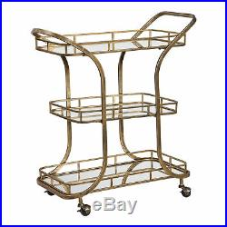Retro Mid Century Tiered Gold Serving Bar Cart Mirrored Shelves Rolling Wheels