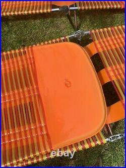 Retro Orange Vintage Sun Loungers VW Camper Beach Chairs 1970 Kitsch