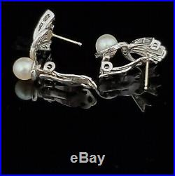Retro Pearl Diamond 14k White Gold Earrings Mid Century Vintage Fan Estate Gift