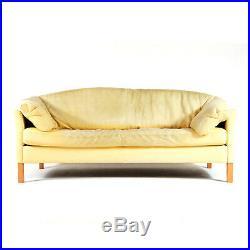 Retro Vintage Danish Banana Leather 2 / 3 Seat Seater Sofa Mid Century 60s 70s
