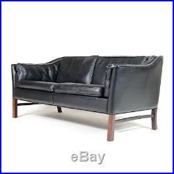 Retro Vintage Danish Black Leather 2 Seat Seater Sofa 1970s Mid Century Rosewood