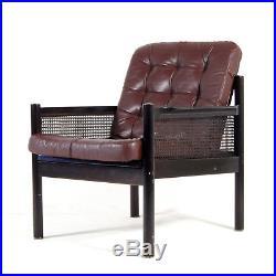 Retro Vintage Danish Cane & Leather Easy Chair Armchair 1960s 70s Mid Century