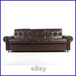 Retro Vintage Danish Chrome & Leather 3 Seat Seater Sofa Mid Century 1960s 70s