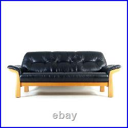 Retro Vintage Danish Design Oak + Leather 3 Seat Seater Sofa 60s 70s Mid Century