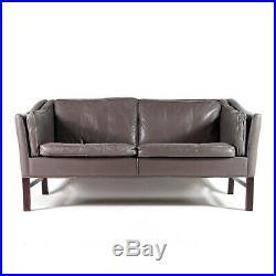 Retro Vintage Danish Grey Leather 2 Seat Seater Sofa 1970s Mid Century Rosewood