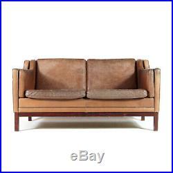 Retro Vintage Danish Leather 2 Love Seat Seater Sofa 1960s Mid Century Mogensen