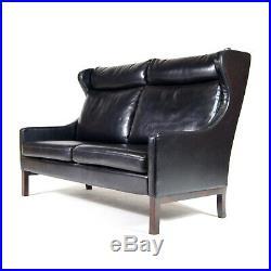 Retro Vintage Danish Leather 2 Love Seat Seater Sofa 1960s Mid Century Rosewood