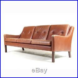 Retro Vintage Danish Leather 3 Seat Seater Sofa 1960s Mid Century Mogensen Teak