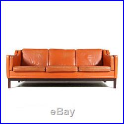 Retro Vintage Danish Leather 3 Seat Seater Sofa 60s Mid Century Mogensen 1970s