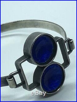 Retro Vintage Danish MID Century Sterling Blue Enamel Hinged Bangle Bracelet