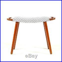 Retro Vintage Danish Mid Century Teak Foot Stool Piano Chair Ottoman 50s 60s 70s