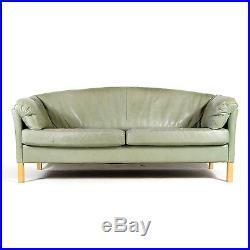 Retro Vintage Danish Oak 2 3 Seat Seater Leather Sofa 50s 60s 70s Mid Century