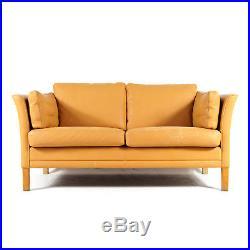 Retro Vintage Danish Oak & Leather 2 Seat Seater Sofa 60s Mid Century 60s 70s