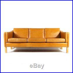 Retro Vintage Danish Oak & Leather 3 Seat Seater Sofa 60s Mid Century 60s 1970s
