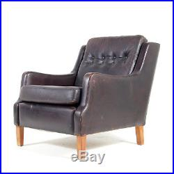 Retro Vintage Danish Oak Leather Easy Chair Armchair 1960s Mogensen Mid Century