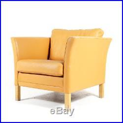 Retro Vintage Danish Oak & Leather Easy Chair Armchair 70s Mogensen Mid Century