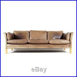 Retro Vintage Danish Oak & Leather Feather 3 Seat Seater Sofa 1970s Mid Century
