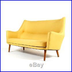 Retro Vintage Danish Oak Love Seat 2 Seater Sofa Mid Century Modern 50s 60s 70s