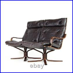 Retro Vintage Danish Rosewood Leather 2 Love Seat Seater Sofa 1960s Mid Century