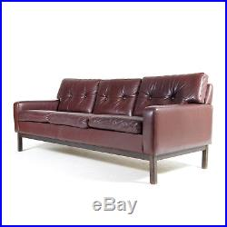 Retro Vintage Danish Rosewood & Leather 3 Seat Seater Sofa Mid Century 1960s 70s