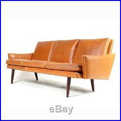 Retro Vintage Danish Rosewood Tan Leather 3 Seat Seater Sofa Mid Century 60s 70s