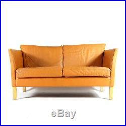 Retro Vintage Danish Tan Leather 2 Love Seat Seater Sofa 1960s Mid Century Oak