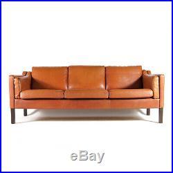 Retro Vintage Danish Tan Leather 3 Seat Seater Sofa 60s Mid Century Mogensen 70s