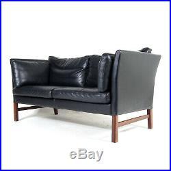 Retro Vintage Danish Teak & Leather 2 Seat Seater Sofa 1960s Mid Century 1970s