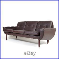 Retro Vintage Danish Teak & Leather 3 Seat Seater Sofa Mid Century 1960s 70s
