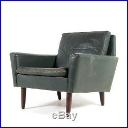 Retro Vintage Danish Teak & Leather Easy Lounge Chair Armchair 1960s Mid Century