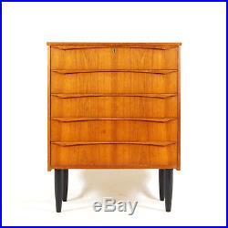 Retro Vintage Danish Teak Tall Boy Chest of Drawers 60s 70s Dresser Mid Century