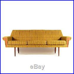 Retro Vintage Danish Wool & Teak 3 Seat Seater Sofa 50s 60s Mid Century Modern