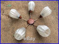 Retro Vintage Mid Century Danish Teak Copper Glass Ceiling Light 1960s/70s