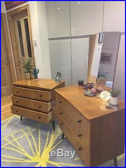Retro Vintage Mid Century Dressing Table And Matching Chest Of Drawers