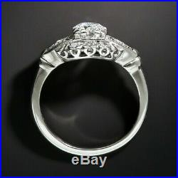 Retro Vintage Mid Century Engagement Wedding Ring 3 Ct Diamond 14k White Gold Fn