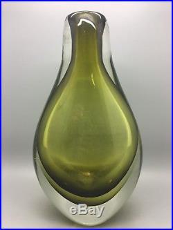 Retro Vintage Mid Century Murano Olive Green Coloured Heavy Cased Sommerso Vase